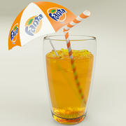 Fanta Cup With Ice 3d model