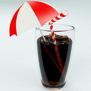 Cola Glass With Ice 3d model