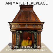 Chimenea de madera gótica animada modelo 3d