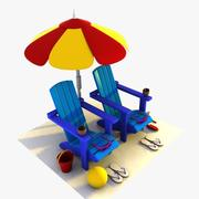 Cartoon Summer Items 3d model