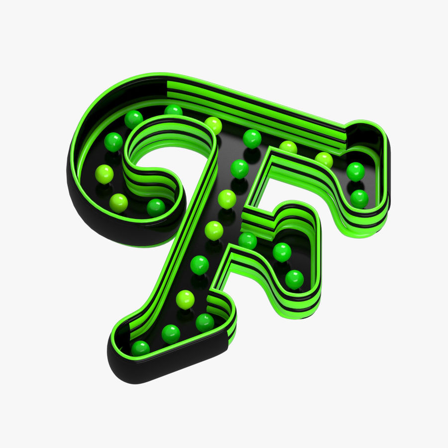 F Letter royalty-free 3d model - Preview no. 2
