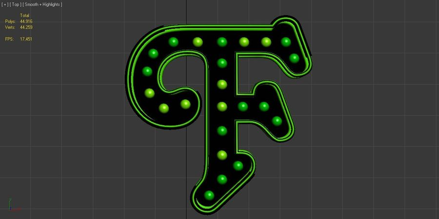 F Letter royalty-free 3d model - Preview no. 7