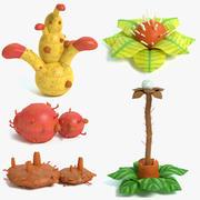 Ensemble de plantes exotiques 3d model