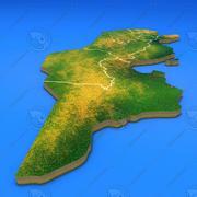 Tunezja szczegółowa mapa kraju 3d model