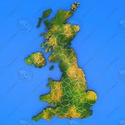 United kingdom  detailed country map 3d model