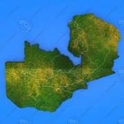 Szczegółowa mapa kraju Zambia 3d model