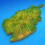 アフガニスタンの詳細な国の地図 3d model