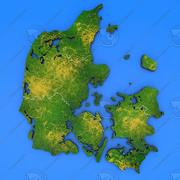 丹麦详细的国家地图 3d model