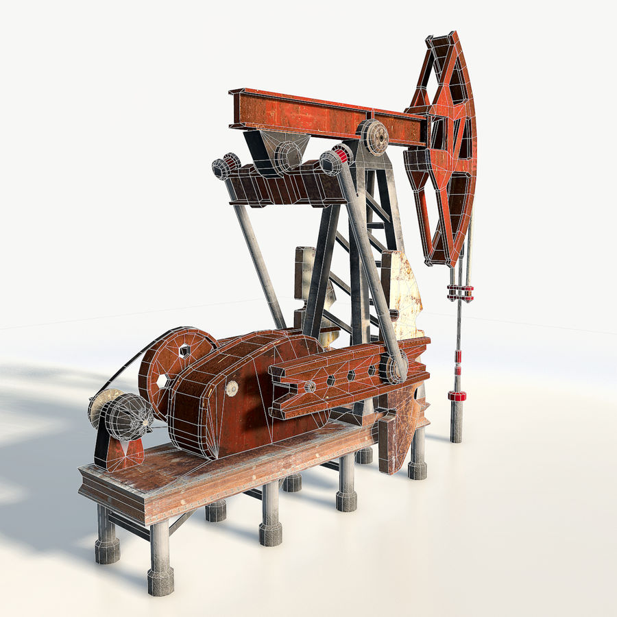 Oil pump jack red low poly royalty-free 3d model - Preview no. 7