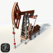 Oil pump jack red low poly 3d model