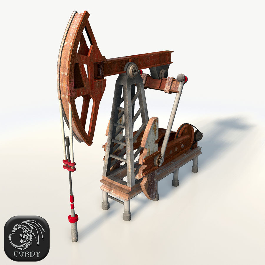 Oil pump jack red low poly royalty-free 3d model - Preview no. 1