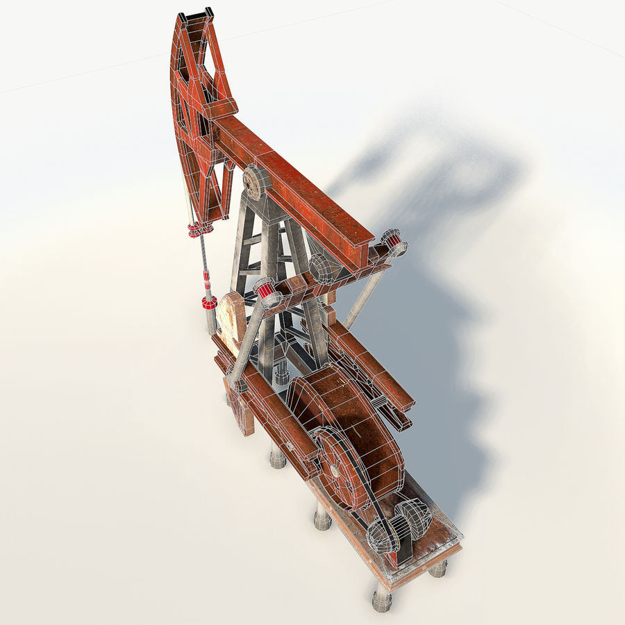 Oil pump jack red low poly royalty-free 3d model - Preview no. 11