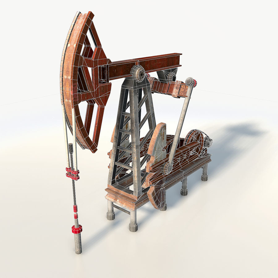 Oil pump jack red low poly royalty-free 3d model - Preview no. 3