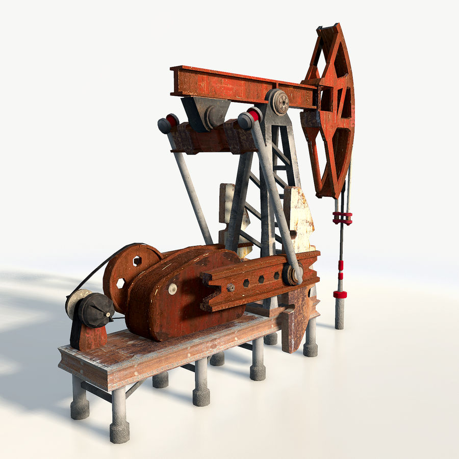 Oil pump jack red low poly royalty-free 3d model - Preview no. 6