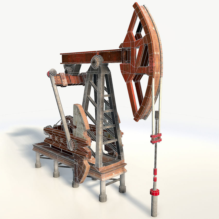 Oil pump jack red low poly royalty-free 3d model - Preview no. 5