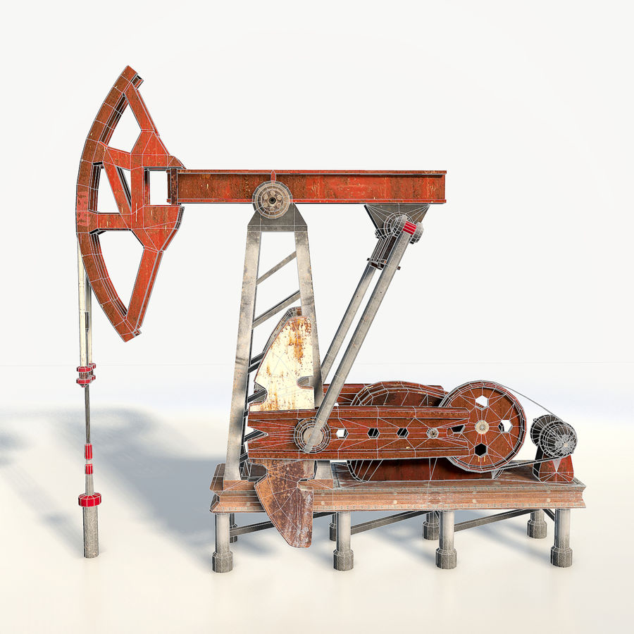 Oil pump jack red low poly royalty-free 3d model - Preview no. 9