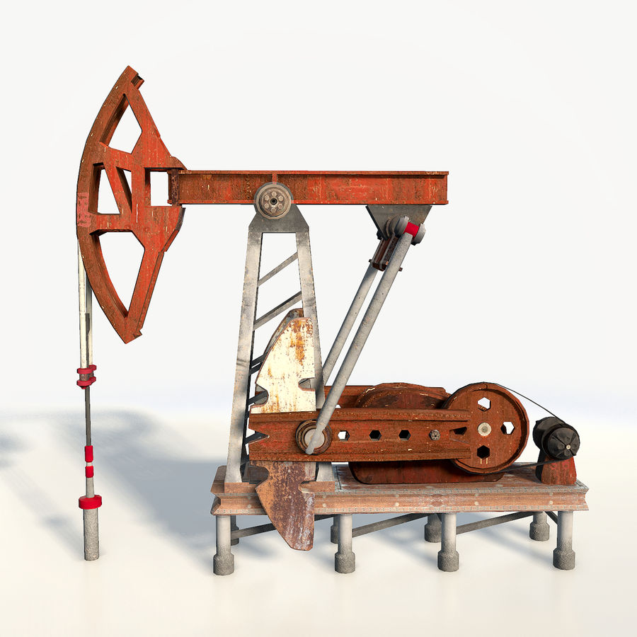 Oil pump jack red low poly royalty-free 3d model - Preview no. 8