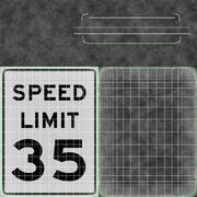 Speed Limit Sign Speed 35 3d model