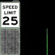 Speed Limit Sign Speed 25 3d model