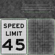 Znak ograniczenia prędkości Prędkość 45 3d model