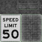 Znak ograniczenia prędkości Prędkość 50 3d model