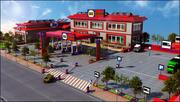 Stacja benzynowa i parking 3d model