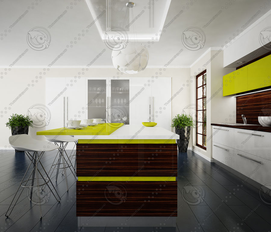 Keuken modern 3 royalty-free 3d model - Preview no. 2