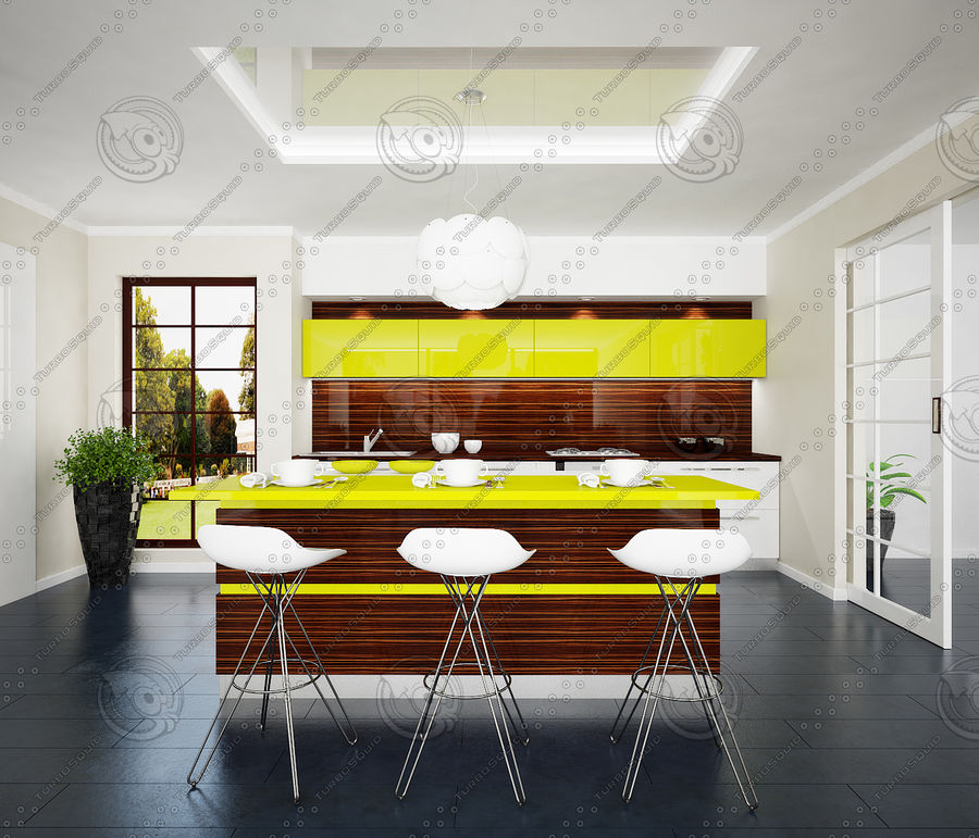 Keuken modern 3 royalty-free 3d model - Preview no. 4