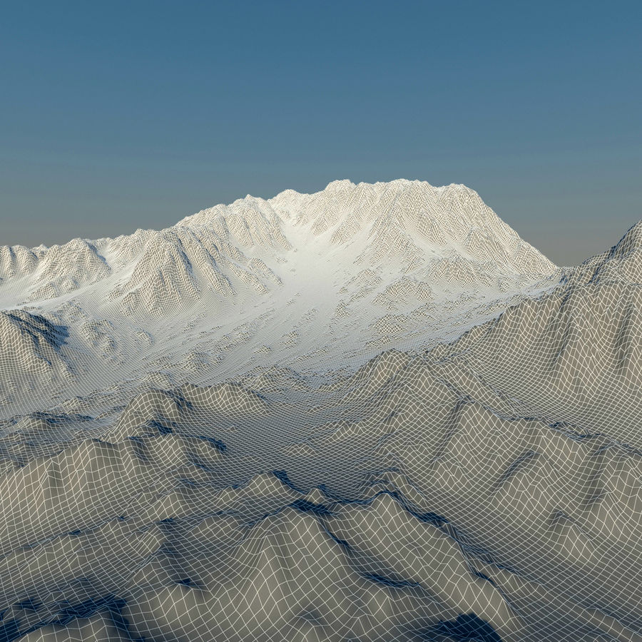 Terrain mountains royalty-free 3d model - Preview no. 13