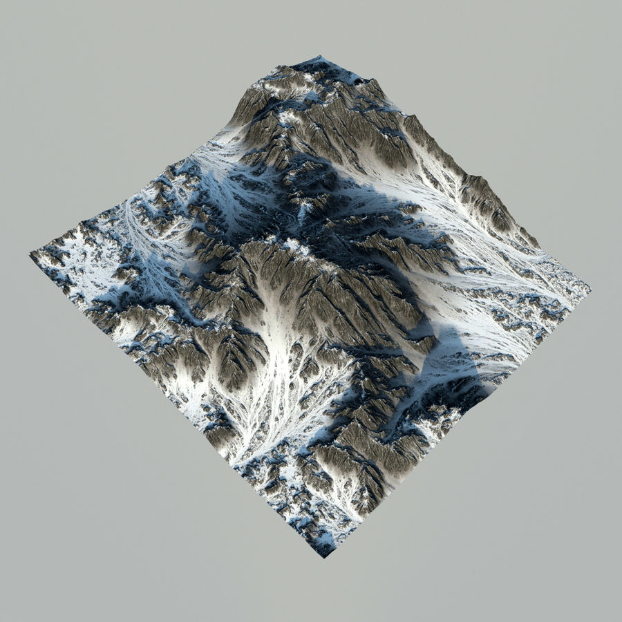 Terrain mountains royalty-free 3d model - Preview no. 3
