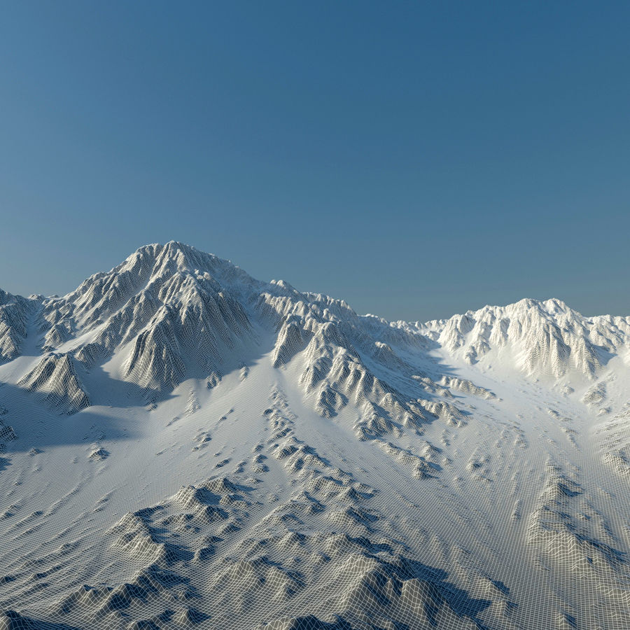 Terrain mountains royalty-free 3d model - Preview no. 10