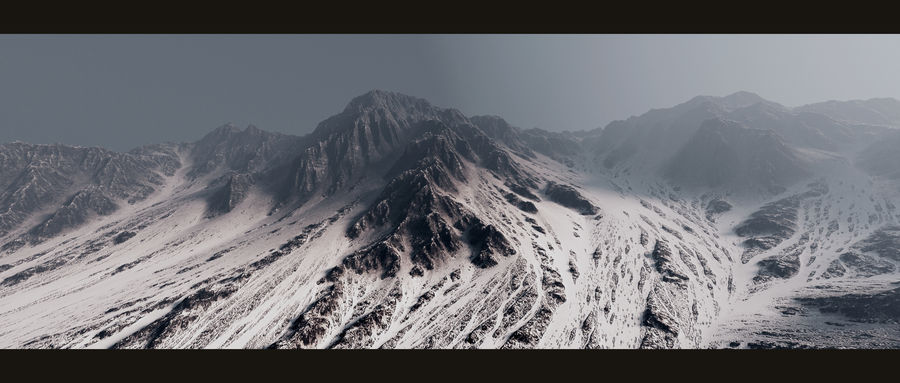 Terrain mountains royalty-free 3d model - Preview no. 2