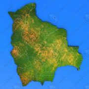 Szczegółowa mapa kraju Boliwia 3d model