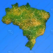 Szczegółowa mapa kraju Brazylia 3d model