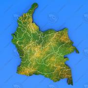 Colombia detailed country map 3d model