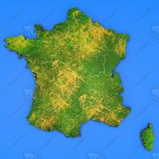 France detailed country map 3d model