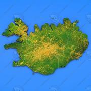 Szczegółowa mapa kraju Islandia 3d model