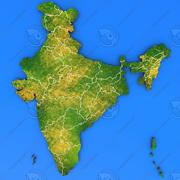 India detailed country map 3d model