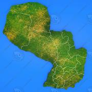 Paraguay detailed country map 3d model