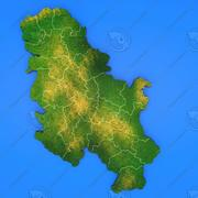 Serbia detailed country map 3d model