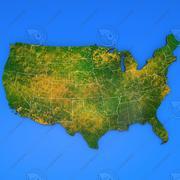 Amerika detaljerad landskarta 3d model