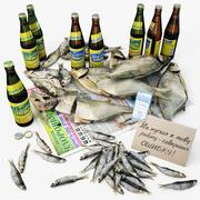 Bière et poisson séché, RUS. 3d model