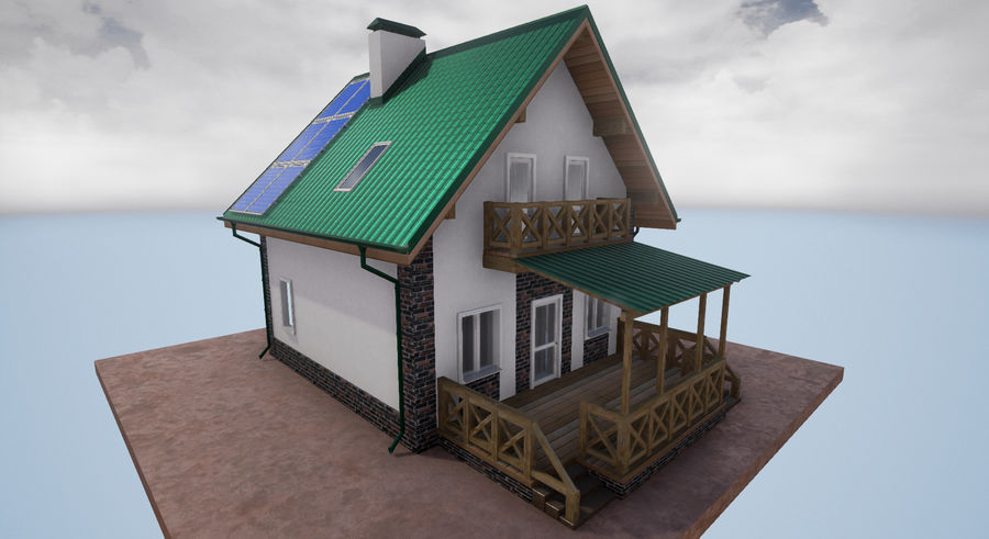 cottage houses royalty-free 3d model - Preview no. 6