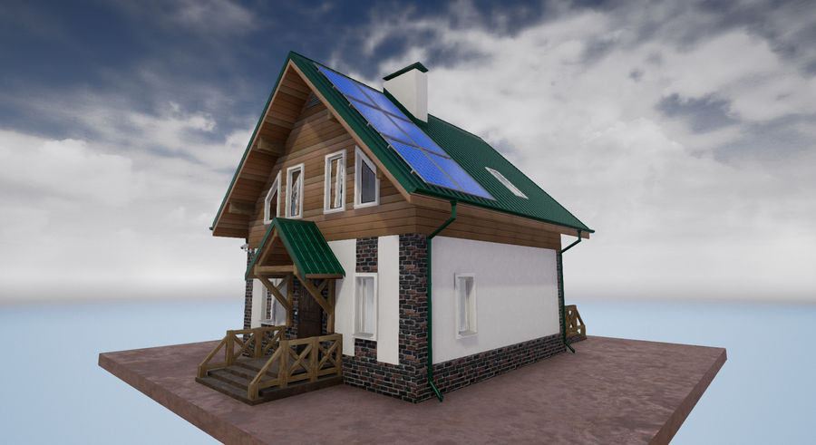 cottage houses royalty-free 3d model - Preview no. 2