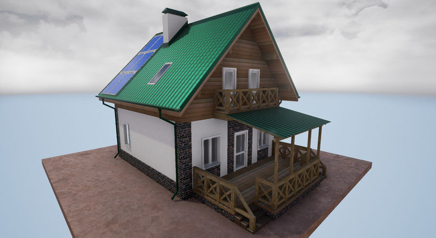 cottage houses royalty-free 3d model - Preview no. 7