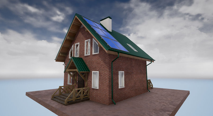 cottage houses royalty-free 3d model - Preview no. 4