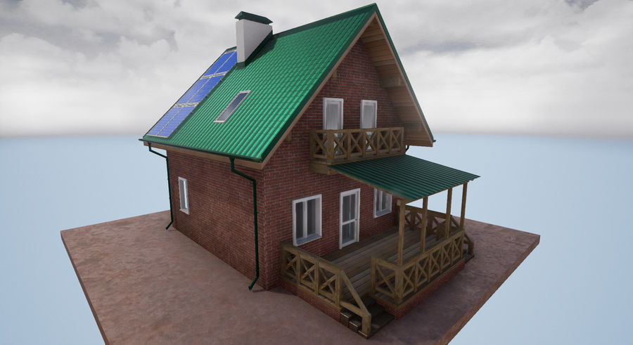 cottage houses royalty-free 3d model - Preview no. 9