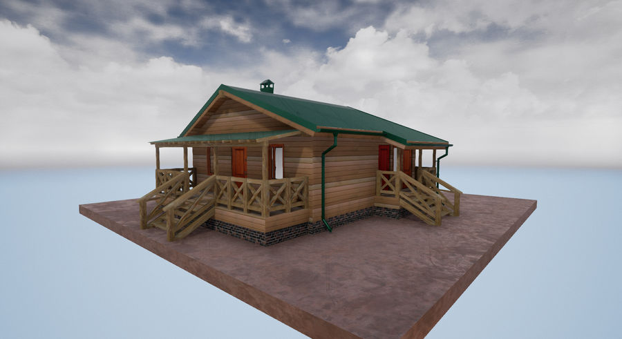 cottage houses royalty-free 3d model - Preview no. 5