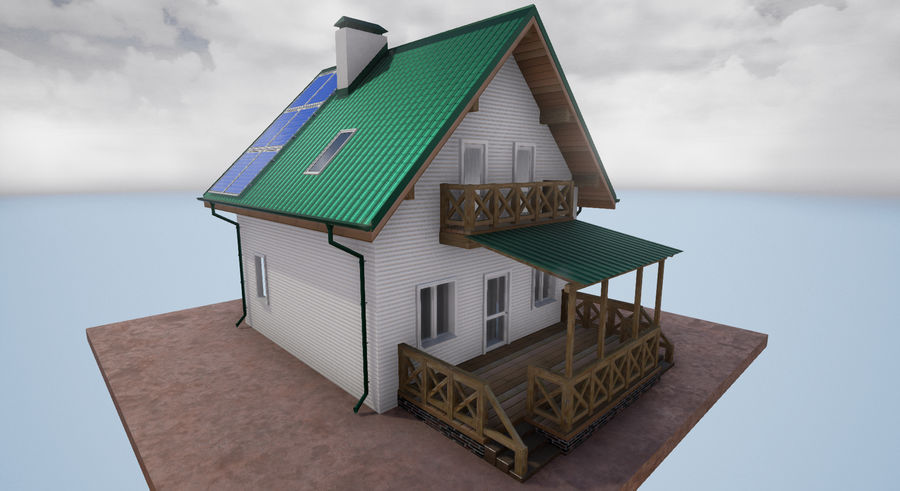cottage houses royalty-free 3d model - Preview no. 8