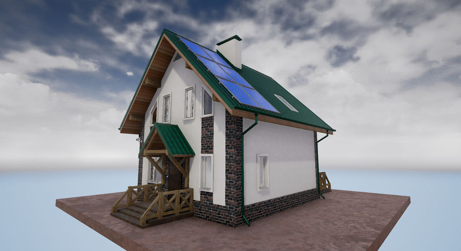 cottage houses royalty-free 3d model - Preview no. 1